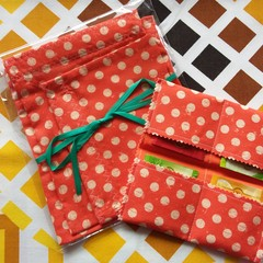 Handy Tea Bag Wallet & Handy Bag gift set-Polka dots on orange
