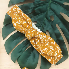 Top Knot - Headband - Mustard Floral - Corduroy