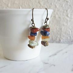 Earthy Boho style Simple gemstone chip drop earrings , Blue Green Orange Brown