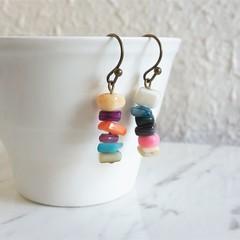 Tropical beach style Simple colourful shell chip drop earrings , Rainbow