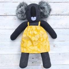 'Mirri' the Sock Koala - yellow floral - *READY TO POST*