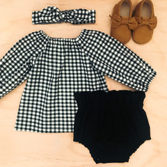 Smock Top - Black & White Gingham -Long Sleeved -  Peasant Top