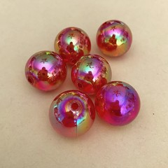 Iridescent red gold plastic beads - 15mm - 6 pieces