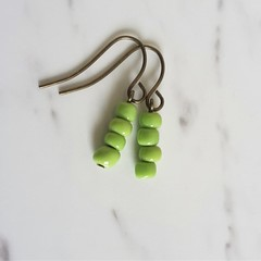Simple Nature Antique Bohemian style seed bead short drop earrings , Olive green