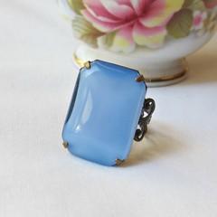 Moonstone Blue Cocktail Ring Estate Style Jewellery Octagon Vintage Pastel