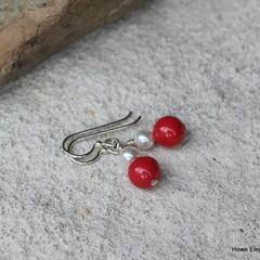 Red + White Swarovski pearls, Sterling Silver, dangle earring
