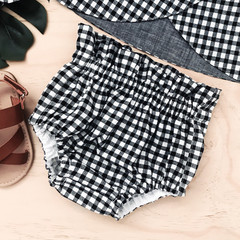 -Mayfair Bloomers - Gingham - Black & White - High Waist - Nappy Cover - Retro