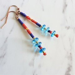 Long Colourful Modern Boho style Glass bead bar drop earrings , Blue Red Gold