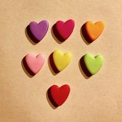 Heart beads - Multicoloured - Acrylic - 15mm -7 pieces