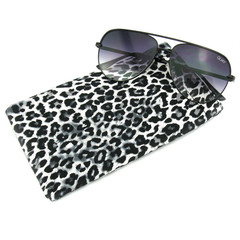 Black and White Leopard Sunglasses Case, Reading Glasses Case, Snap Top Pouch
