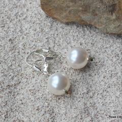 Swarovski White Pearl, Sterling Silver, dangle earrings