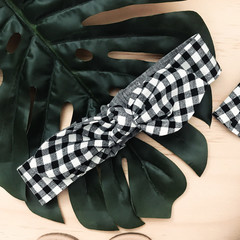 Top Knot - Headband - Gingham - Black and White Check