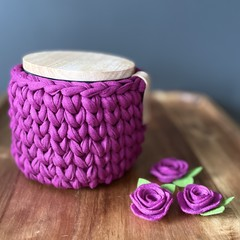 Canister with crochet cover (Please let me know what colour you have chosen)