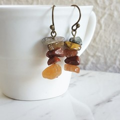 Chic Hippie style Simple gemstone chip short drop earrings , Gray Brown Orange
