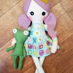 The Princess and her frog - handmade cloth doll