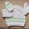 SIZE 1-2 - Hand knitted jumper & beanie:  machine washable, warm, winter, unisex