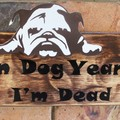 In Dog Years I'm Dead Reclaimed Timber Sign