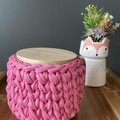 Canister with crochet cover