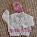 SIZE 12 -18mths - Hand knitted cardigan & beanie in musk pink & white: OOAK