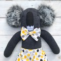 'Orana' the Sock Koala - grey black & yellow spots - *MADE TO ORDER*