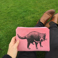 Screen printed Tasmanian devil pouch