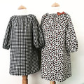 Smock Dress -Black and White Check - Cotton - Long Sleeved - Girls