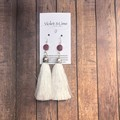 Tassel Earrings - Pink and White