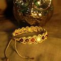 Cream macrame bracelet with Garnet, Tiger's Eye, Carnelian and Howlite