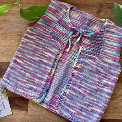 Marley Hand Knitted Tie-front Toddler Vest - 1 year old/12 months/Rainbow yarn