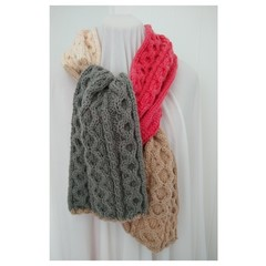 Hand knitted Cable Scarf - Melon