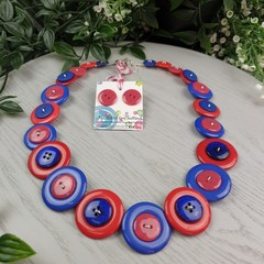Spotted Red and Blue- Button Necklace - Earrings