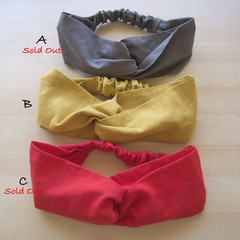 Cotton-Linen Crossover Hair Band/Mustard