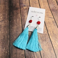 Tassel Earrings - Red and Turquoise