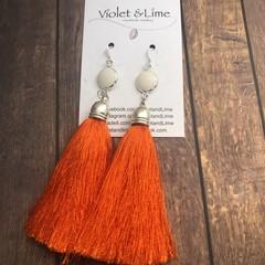 Tassel Earrings - White and Orange