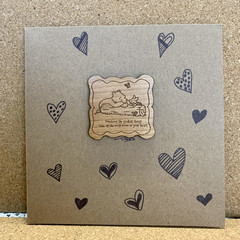 Winnie the pooh handmade card featuring wooden accent