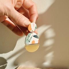 Botanical Print Clay Earrings / Statement Earrings / Polymer Clay Earrings