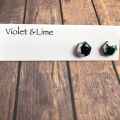 White and Green Hexi Studs