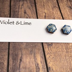 Blue and White Hexi  Studs