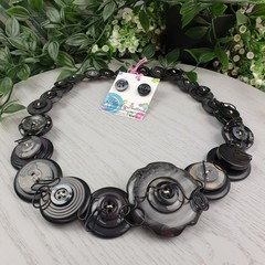 Black Rose - free-formed wired Button Necklace - Chunky