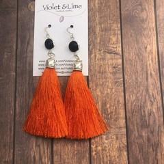 Tassel Earrings - Black and Orange