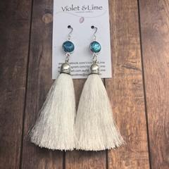 Tassel Earrings - Aqua and White