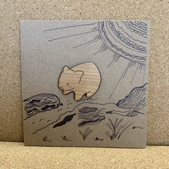 WOMBAT HANDMADE GREETING CARD WITH WOODEN ACCENT