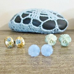 Blue And Gold Earrings Set Ear Studs Vintage Pastel Floral Botanical Boho Chic