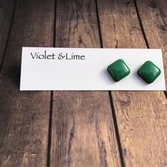 Square Green Studs