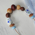 A Touch of Blue. - N321W Necklace hand-carved timber, hand-painted wood, pottery