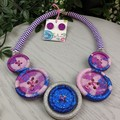 Blushing Meadows  - Button Fusion Necklace - Button Jewellery - Earrings