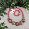 Straweberry and Cherries - Button Fusion Necklace - Button Jewellery - Earrings