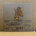 HELLO BABY GIRAFFE HAND MADE CARD WITH WOODEN ACCENT