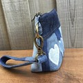 Upcycled Denim Heart Wristlet Pouch