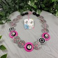 Kiss Me Quick - Black, Pink and White Pearl Button Necklace - Earrings